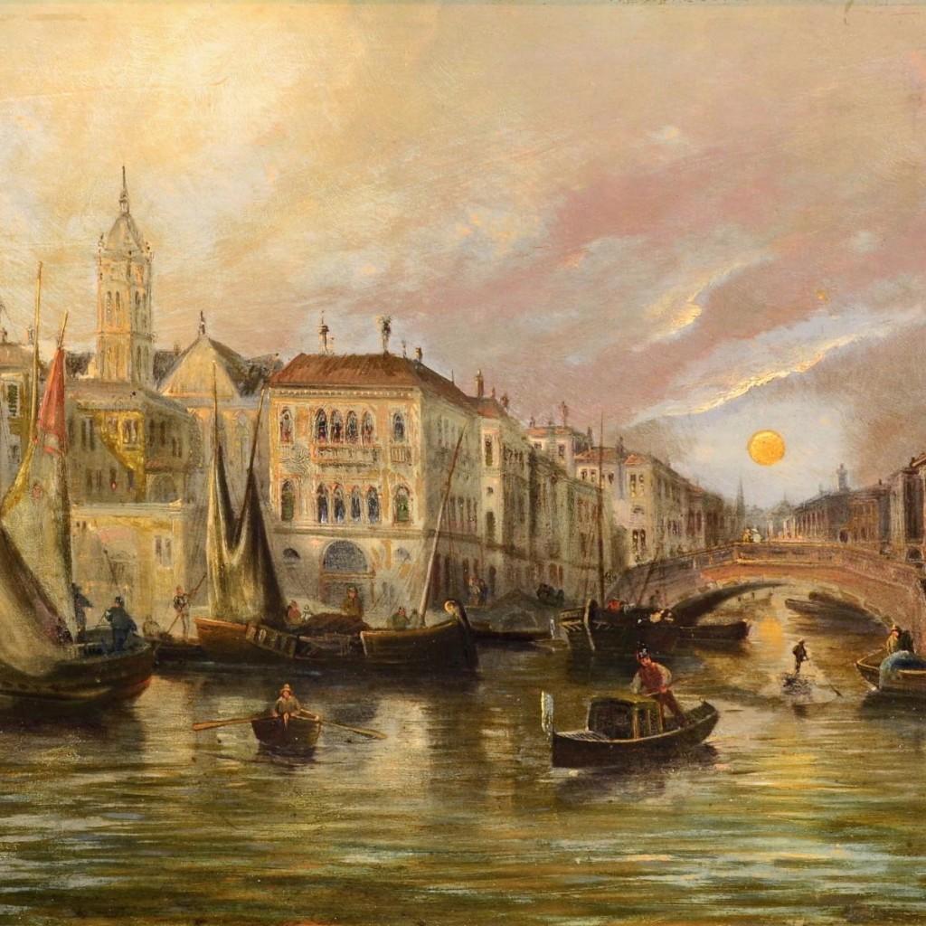 August Von Siegen (Vienne 1850 - 1910) - Vue De Venise Au Coucher Du Soleil Sur Le Grand Canal