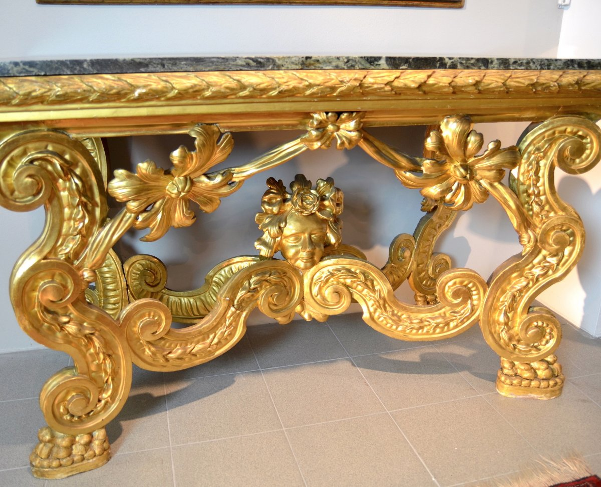 Console Louis XIV Carved And Gilded, Rome End Seventeenth Century