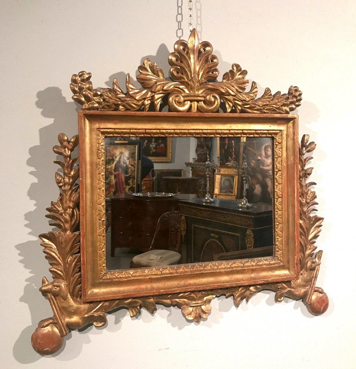 Miroir 'cartagloria' Néoclassique En Bois Sculpté Et Doré, 18ème Siècle