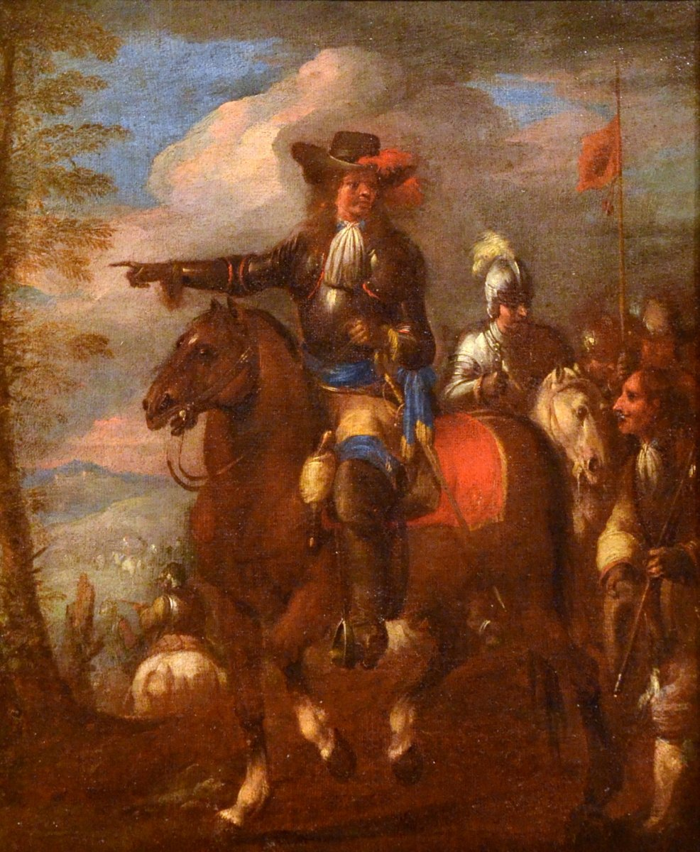 Knights In Reconnaissance Before The Battle, Christian Reder Dit Monsù Leandro (1656-1729)