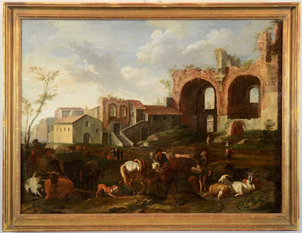 Pieter Van Bloemen (1674-1720), Rome View With A Country Scene In Campovaccino