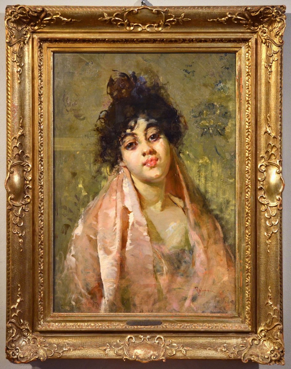 Salvatore Postiglione (naples 1861-1906) Signed, Portrait Of A Young Neapolitan Girl