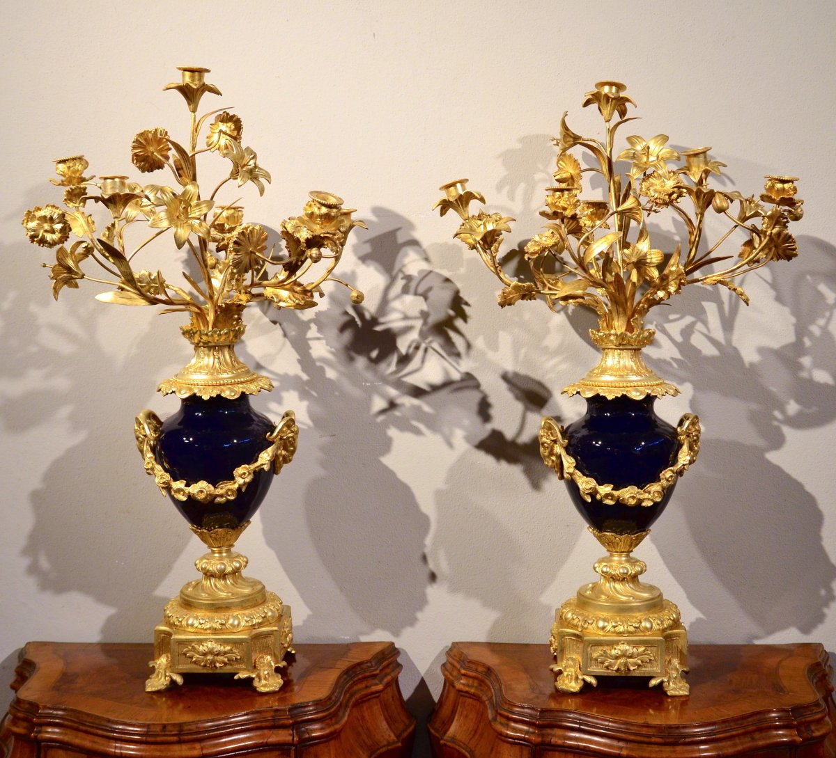 Pair Of Louis XVI Candelabra In Gilt Bronze And Blue Sèvres Porcelain, France 19th Century