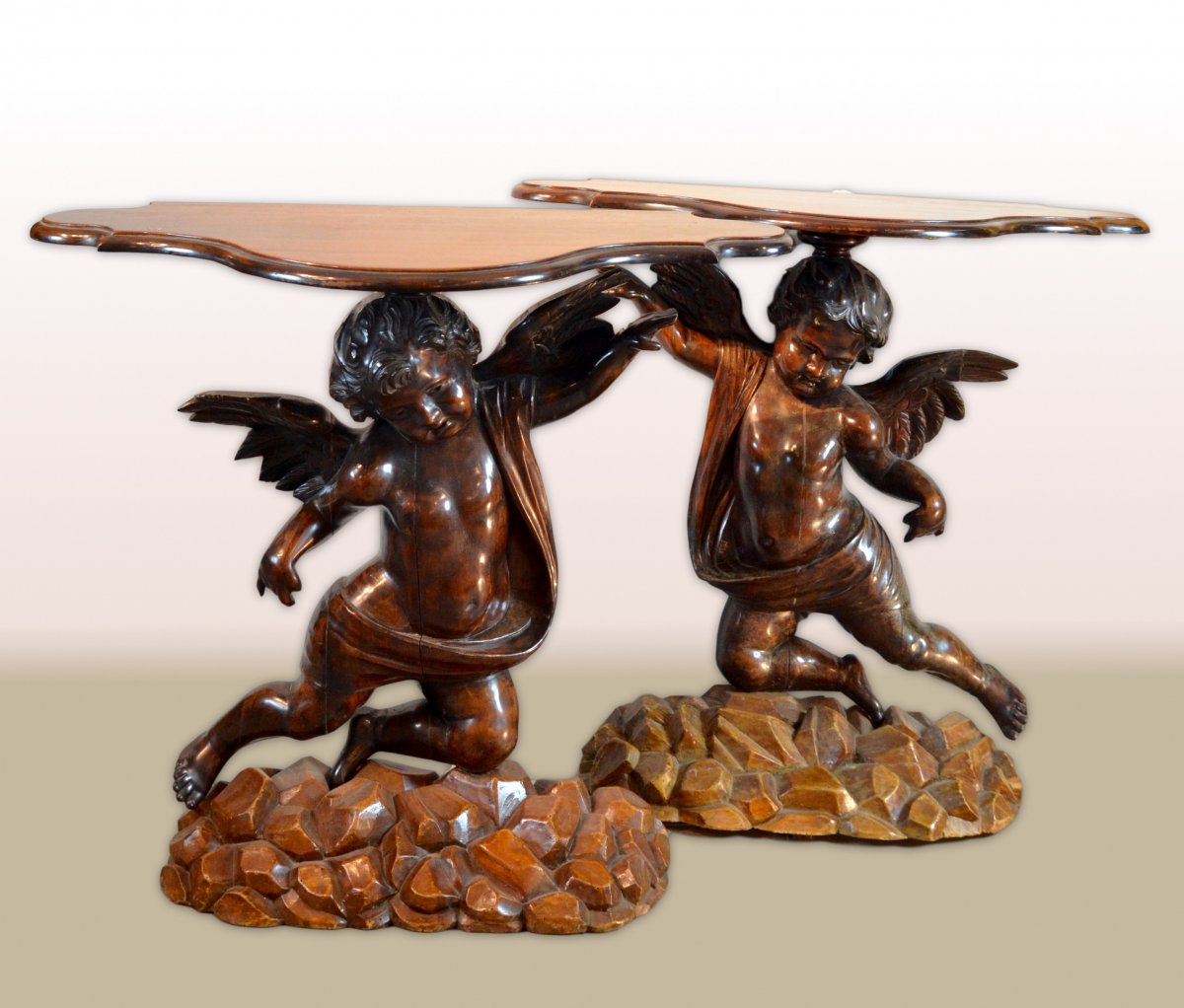 Pair Of Consolles Tables With Angels, Venetian Sculptor Nineteenth Century In The Manner Of Of Andrea Brustolon (1662 - 1732)