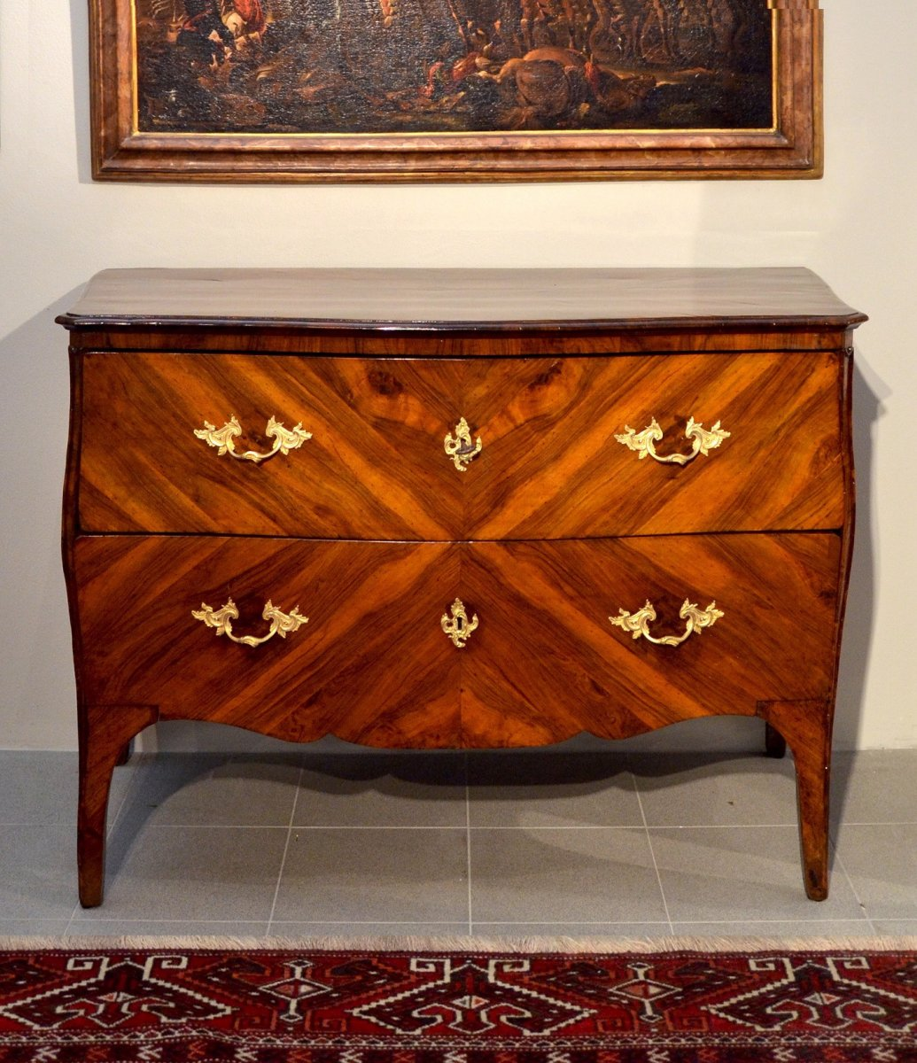 Splendid Louis XV Commode With Two Drawers, Genoa, First Half Of The Eighteenth Century