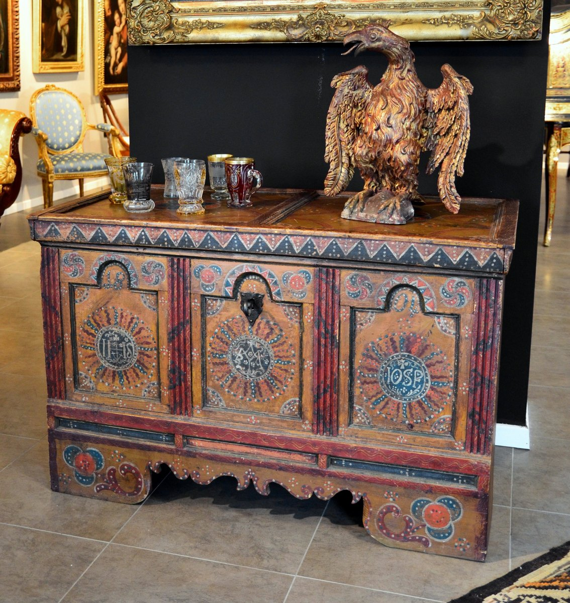 Painted Wooden Chest, Tyrol 18th Century