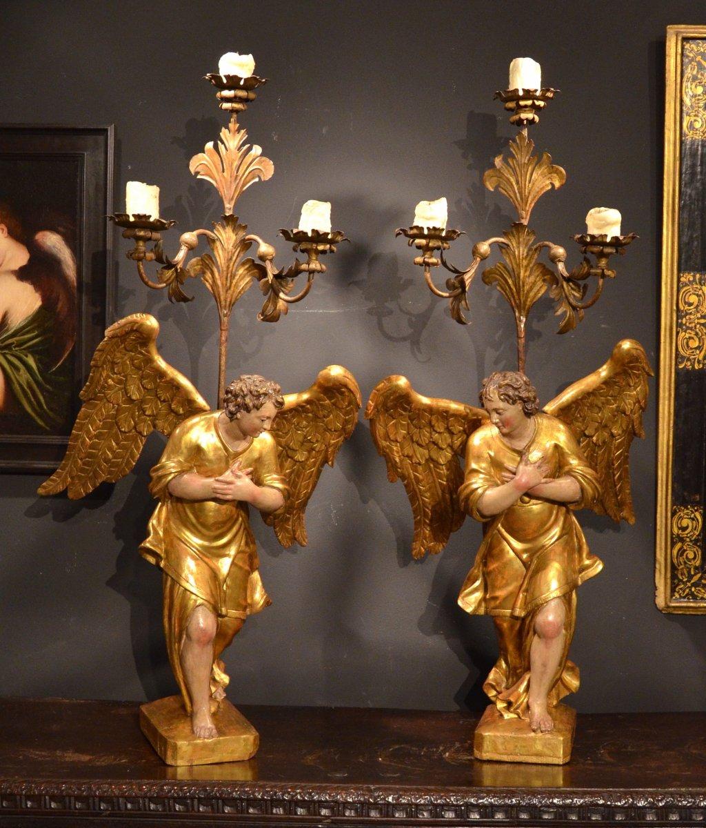 Paire d'Ailes En Bois Sculpté, Doré Et Polychrome, Florence XVIIe Siècle