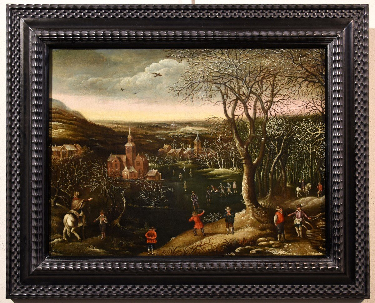 Winter Landscape With Ice Skaters And Frozen River, Denys Van Alsloot (1560-1628), Attributed To