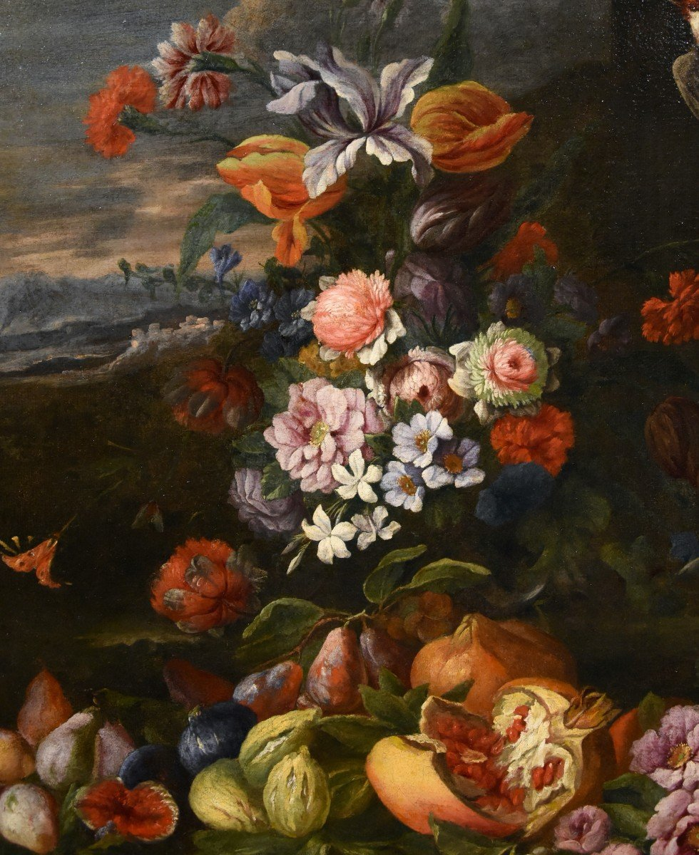 Entourage Of Abraham Brueghel (1631-1697), Still Life Of Flowers And Fruits With Landscape-photo-3