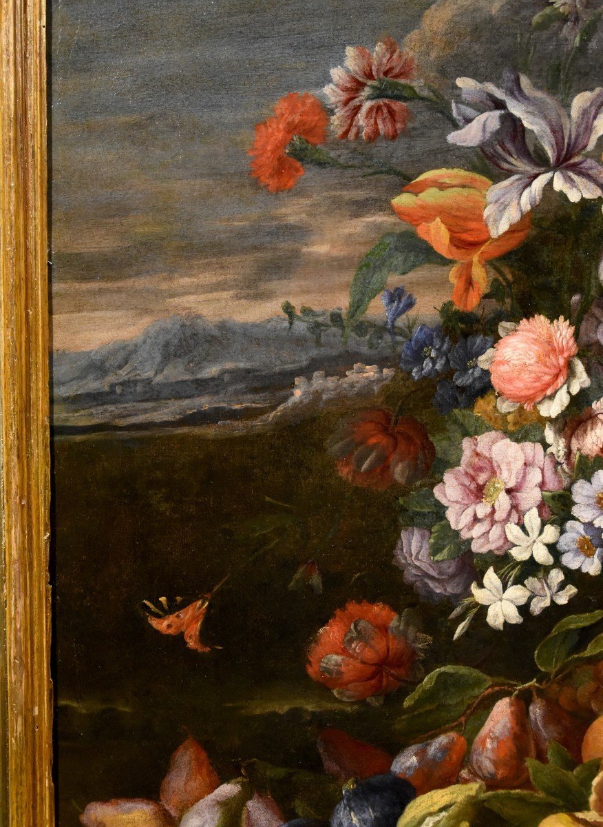 Entourage Of Abraham Brueghel (1631-1697), Still Life Of Flowers And Fruits With Landscape-photo-4