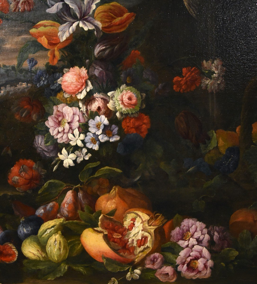 Entourage Of Abraham Brueghel (1631-1697), Still Life Of Flowers And Fruits With Landscape-photo-2