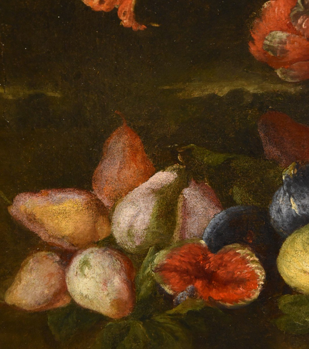 Entourage Of Abraham Brueghel (1631-1697), Still Life Of Flowers And Fruits With Landscape-photo-5