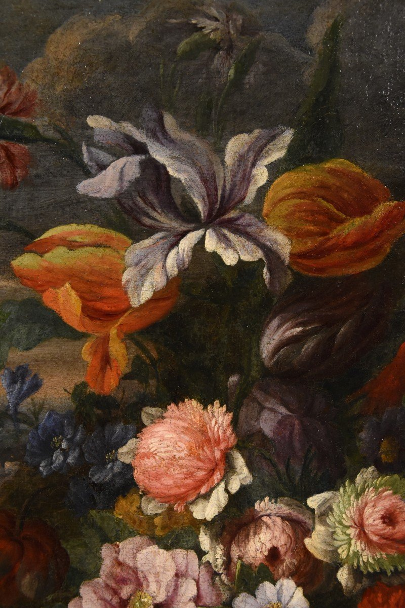 Entourage Of Abraham Brueghel (1631-1697), Still Life Of Flowers And Fruits With Landscape-photo-6