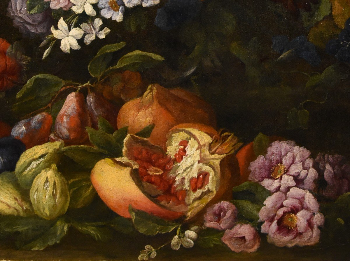 Entourage Of Abraham Brueghel (1631-1697), Still Life Of Flowers And Fruits With Landscape-photo-7