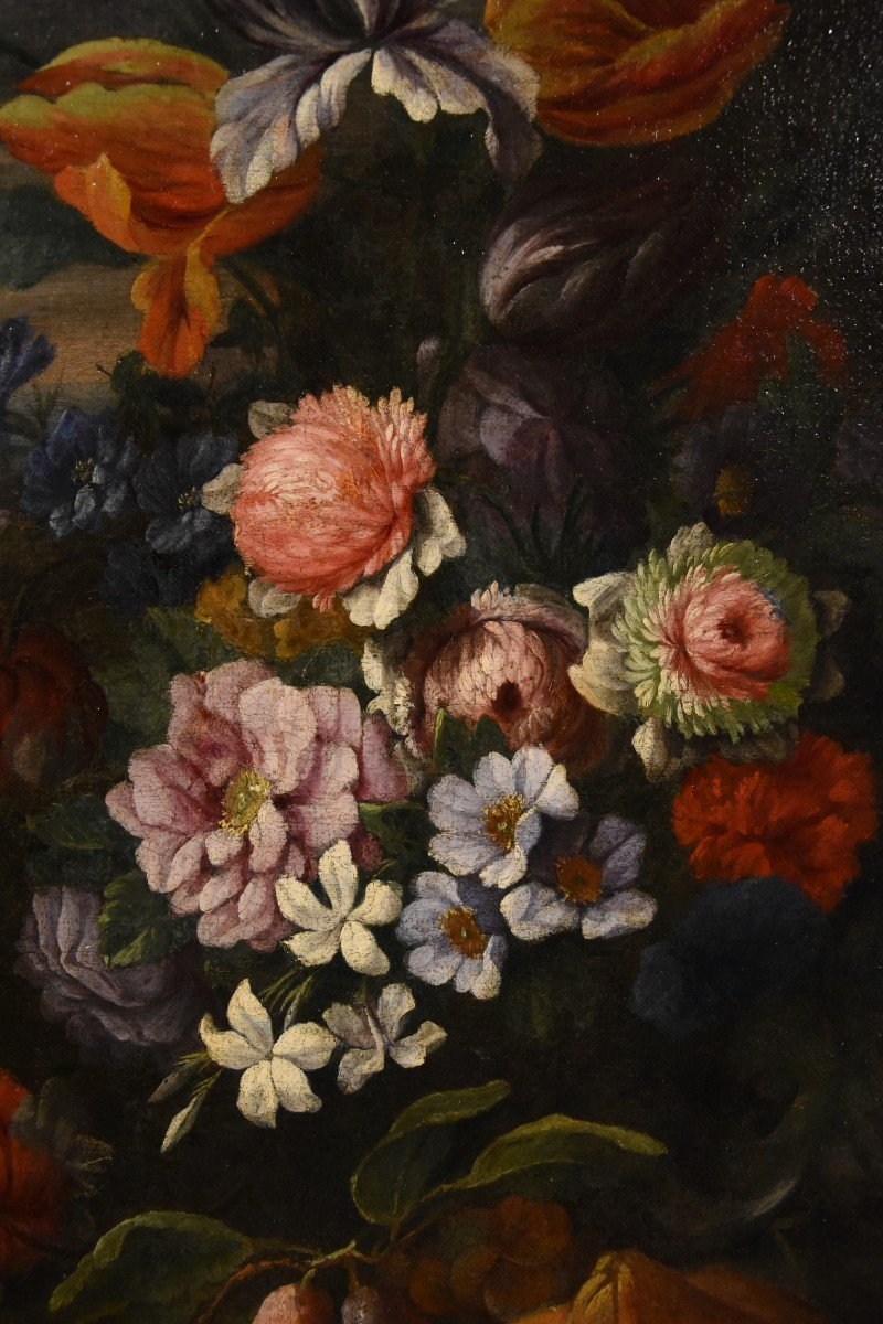 Entourage Of Abraham Brueghel (1631-1697), Still Life Of Flowers And Fruits With Landscape-photo-8