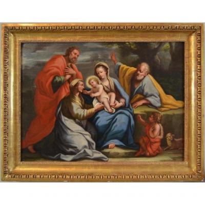 Giovan Battista Lama (Naples, 1673 - 1748) - Sainte Famille avec sainte Anne, sainte...