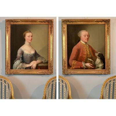 Signées 'charles-amédée Van Loo (1719 - 1795)', Paire De Portraits De Nobles Français