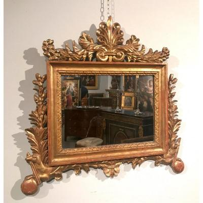 Mirror 'cartagloria' Neoclassical Carved And Gilded Wood, XVIII Century