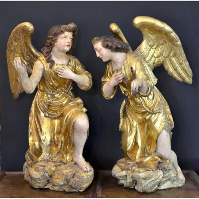 Great Winged Angels From The Baroque Period, Work Of A Master Roman Sculptor From The XVIIth