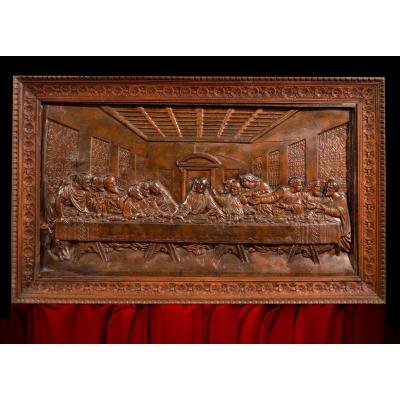 Bas-relief Representing The Last Supper, Lombard School Of The End Of The Eighteenth Century