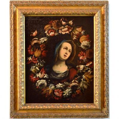 Giovanni Stanchi (rome 1608 - 1675) Workshop, Garland Of Flowers With The Virgin