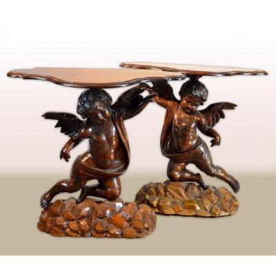 Paire De Tables Consolles Aux Anges, Sculpteur Vénitien XIXe Siècle à la manière d'Andrea Brustolon (1662 - 1732)
