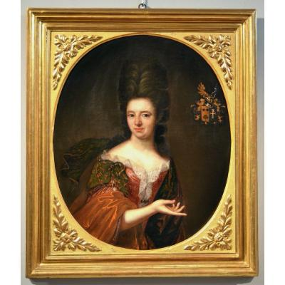 Painter Active In Florence In The 17th Century, Portrait Of A Noble Lady With Heraldic Coat Of Arms (ii/ii)