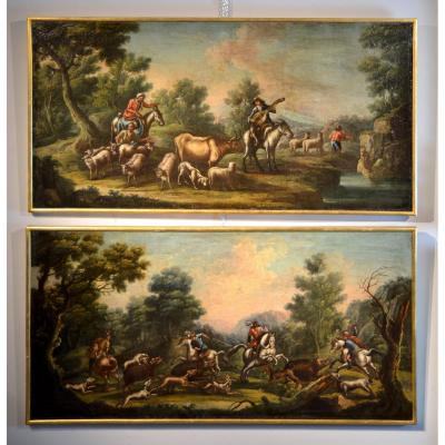 Wild Boar Hunting/ The Rest Of The Shepherds, Italian (piedmontese) Painter Of The 18th Century