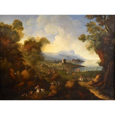 Pandolfo Reschi 'monsù Pandolfo' (1643 - 1699), Coastal Landscape With Fortified City, Castle And Battle Scene