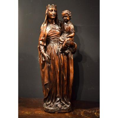 Crowned Virgin And Child, Sculptor From Île-de-france, End Of 16th - Beginning Of 17th Century