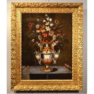 Master  Of The Grotesque Vase, Still Life Of Flowers In A Classic Vase