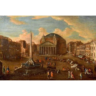 Gaetano Vetturali (lucca, 1701-1783), View Of Rome With Piazza Del Pantheon