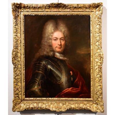 Hyacinthe RIGAUD (Perpignan 1659 - Paris 1743) atelier de, Portrait d'un gentilhomme en armure: Jacques Charles de Vérot, Chevalier de Vérot (1691-1763)