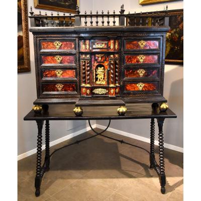 Prestigious Coin Cabinet In Blackened Wood And Tortoise Shell, With Bronze Applications, Flanders 17th Century