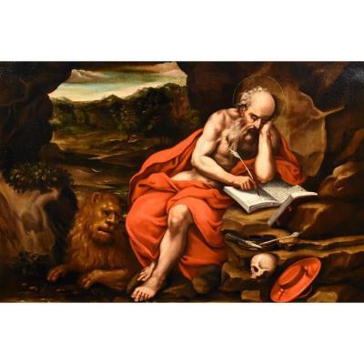 Saint Jérôme Pénitent, Atelier De Jacopo Negretti, Palma Le Jeune (Venise 1544 - 1628)