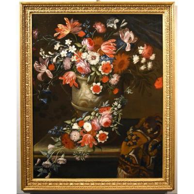 Gaspar Peeter Verbruggen (Anvers 1664-1730), Splendide Nature Morte Avec Vase De Fleurs  (II/II)