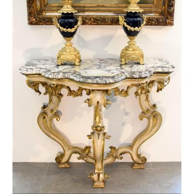 Louis XV Console In Golden And Lacquered Wood, Rome Early XVIII Century