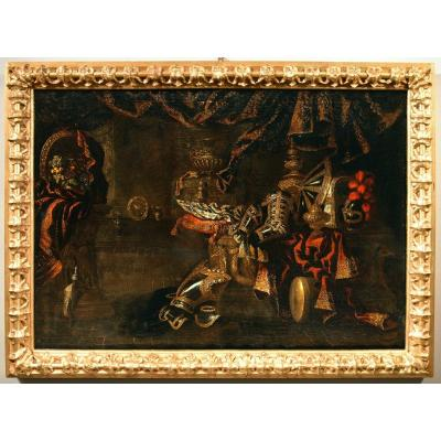 Antonio Tibaldi (rome, 1635 - 1675), Still Life With Armor, Precious Objects And Fruits
