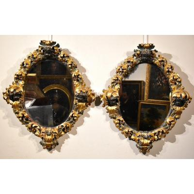 Pair Of Large Baroque Mirrors, Rome Late 17th Century (i/ii)