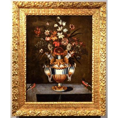 Master Of The Vase Aux Grotesque (rome And Naples 17th Century), Flowers In A Classic Vase