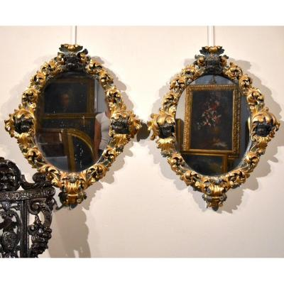 Pair Of Large Baroque Mirrors, Rome Late 17th Century (ii / Ii)
