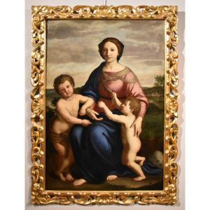 Giovanni Battista Salvi (Sassoferrato 1609 - Rome 1685), Vierge à l'Enfant Avec Saint Jean