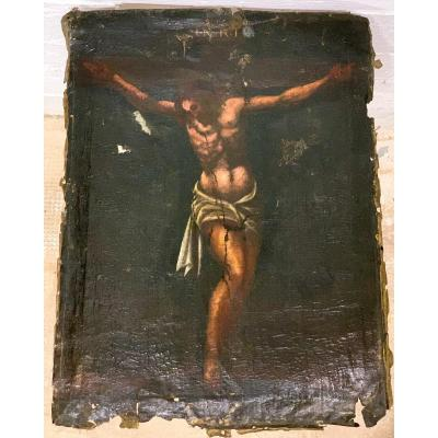 "Oil On Canvas ""jesus Christ Crucifix"" - XVII Century."