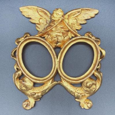 Cadre En Bois Ancien/double Cadre Photo Ovale.  Dorure à La Feuille d'Or - XIX Siècle
