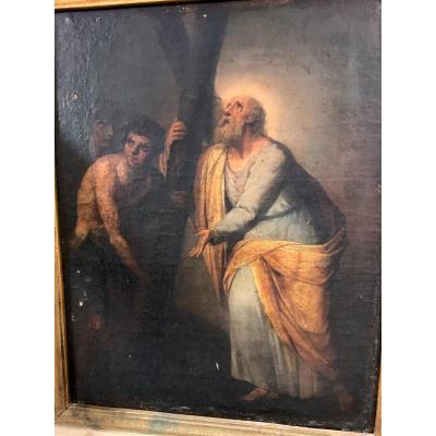Tableaux Huile Sur Toile Représentant S. Andrea -  Debut du XVIIe Siècle