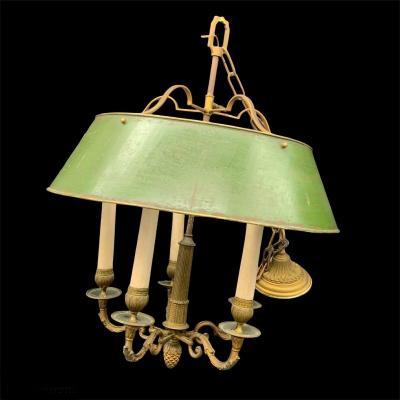 Lustre Bouillotte En Laiton à Cinq Lumières - XIX Siècle