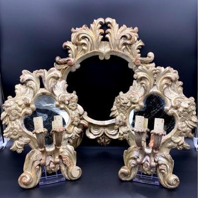 Triptyque De Carteglorie En Bois Doré à La Mecca - Louis Philippe