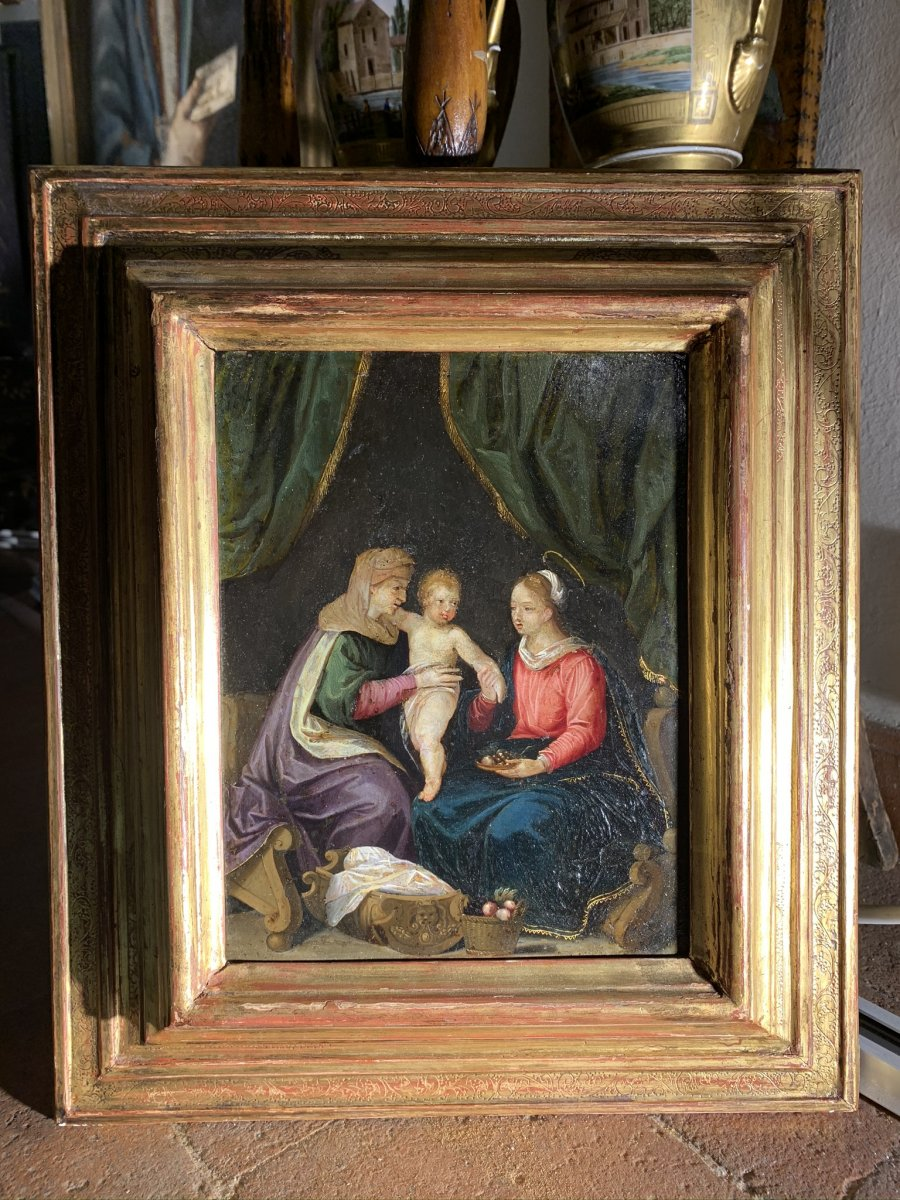 Holy Family With Saint Anne. Beginning Of The 17cent. Oil On Copper.