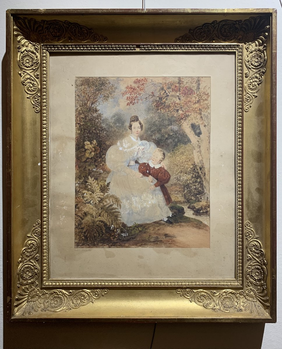 "Watercolor ""young Woman With A Little Boy"" Circa 1825. Signed"