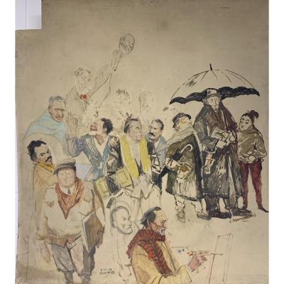 Portrait-caricature De Peintres Piémontais. Vers 1950